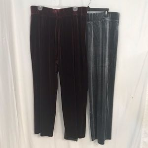 2 Pair Susan Graver Velour Wide Leg Pants 1XP